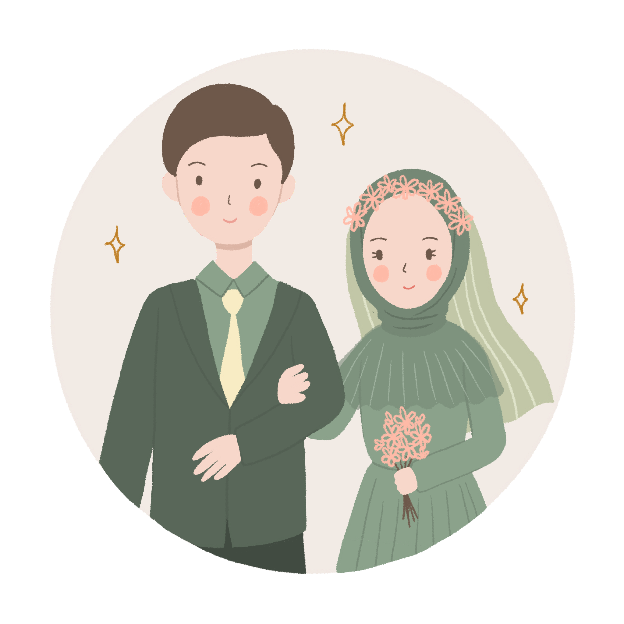 —Pngtree—cute wedding couple in green_5504277